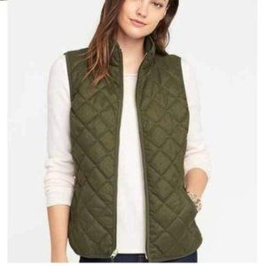 Old Navy Olive Nylon Quilted Riding Vest S